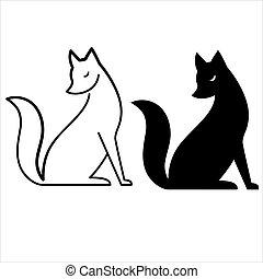 vector, aislado, zorro, negro y blanco