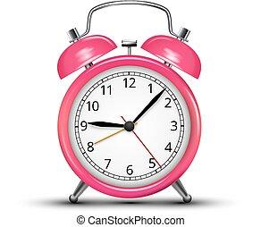 Alarm Clock - Vector Alarm Clock Classic Pink Colored...