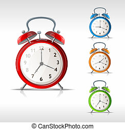 Vector alarm clocks set isolated