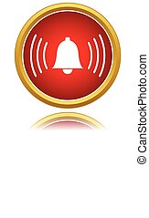Vector alarmclock icon - Red alarmclock icon isolated on a...