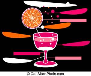 vector alcohol pink glass design with orange and black...
