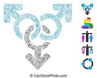 vector, alegre, icono, símbolo, mosaico, lineal, grupo