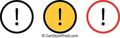 Vector alert warning notification signs. Alert warning symbols.