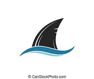 vector, aleta, ilustración, tiburón, icono