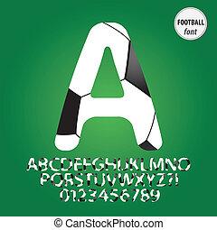 vector, alfabet, cijfer, bal, voetbal