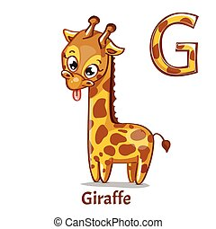 vector, alfabet, giraffe, brief, g.
