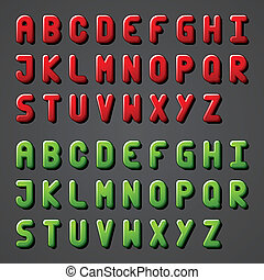 vector, alfabet, lettertype, glanzend