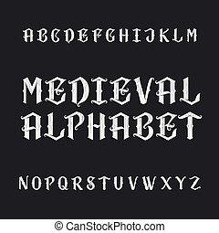 vector, alfabet, lettertype, oud, middeleeuws
