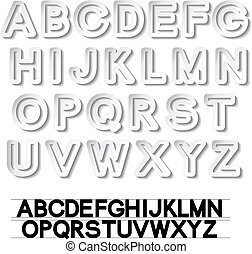 vector, alfabet, -, papier, witte , lettertype, stickers