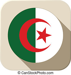 Algeria Flag Button Icon Modern