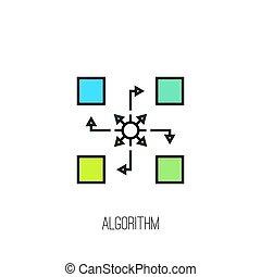 vector, algorithm, icon.