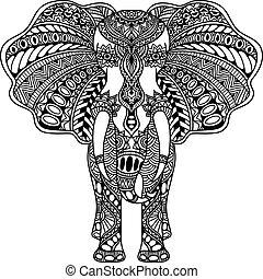 vector, alheña, indio, mehndi, elefante, adornado