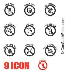 vector, alimento, dietético, negro, conjunto, etiquetas, icono
