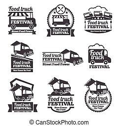vector, alimento, emblemas, logotipos, camión, conjunto, ...