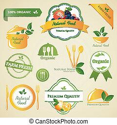 vector, alimento orgánico, etiquetas, y, elementos