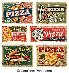 vector, alimento, textura, señales, vendimia, carteles, ...