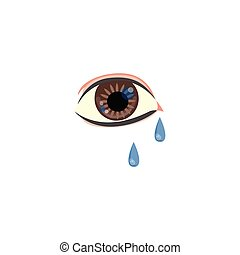 Vector allergic eye with teardrop - Allergy symptoms concept...