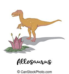 Vector Allosaurus vector with plant isolated over white