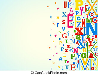 Vector Alphabet Background - Vector Alphabet Colored...