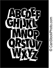 Vector alphabet. Comic style font type