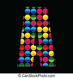 Alphabet Dots Color on Black Background A