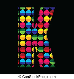 Alphabet Dots Color on Black Background K
