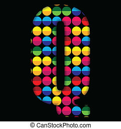 Alphabet Dots Color on Black Background Q