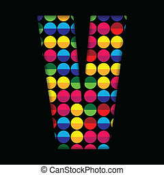 Alphabet Dots Color on Black Background V