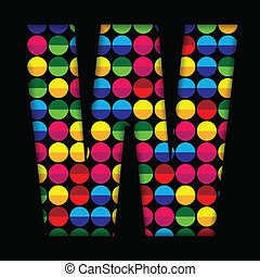 Alphabet Dots Color on Black Background W
