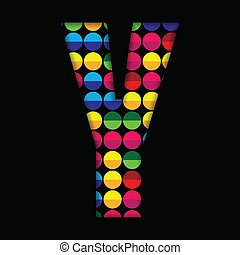 Alphabet Dots Color on Black Background Y