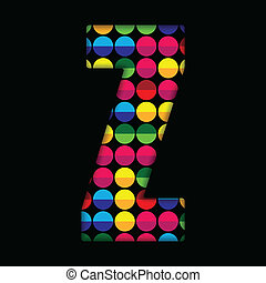 Alphabet Dots Color on Black Background Z