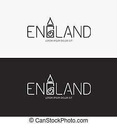 Vector alphabet england design concept with flat sign icon/...