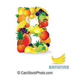 Vector Alphabet From Fruit. Letter B