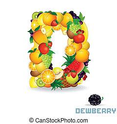 Vector Alphabet From Fruit. Letter D