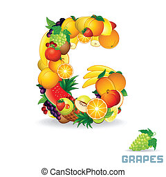 Vector Alphabet From Fruit. Letter G