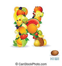 Vector Alphabet From Fruit. Letter K