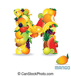 Vector Alphabet From Fruit. Letter M