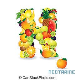 Vector Alphabet From Fruit. Letter N