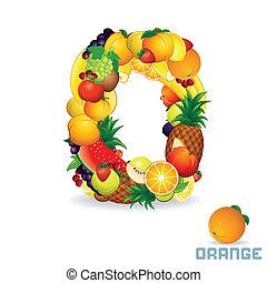 Vector Alphabet From Fruit. Letter O