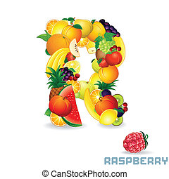 Vector Alphabet From Fruit. Letter R