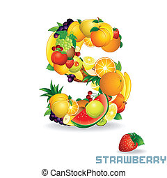 Vector Alphabet From Fruit. Letter S