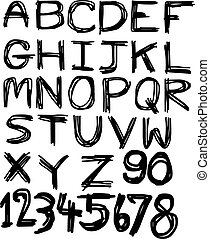Vector alphabet. Hand drawn letters and numbers isolated on white background.