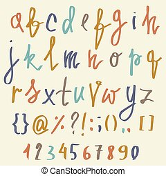Vector alphabet. Hand drawn letters. Letters of the alphabet written with a brush. ABC Painted Letters and numbers. Modern Brushed Lettering. Painted Alphabet. Education