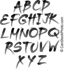 Vector alphabet. Hand drawn letters. written with a brush. -...