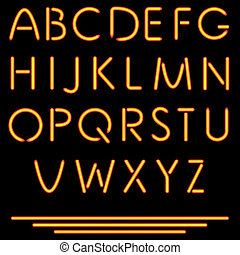 vector, alphabet., illustration., nee, buis, neon,...