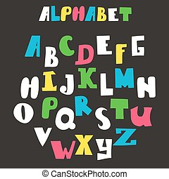 Vector alphabet isolated on black background. Hand drawn letters