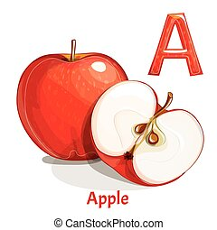 Vector alphabet letter A. Apple
