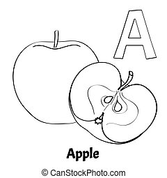 Vector alphabet letter A, coloring page. Apple