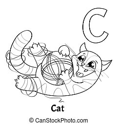 Vector alphabet letter C, coloring page. Cat