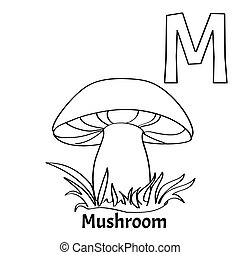 Vector alphabet letter M, coloring page. Mushroom